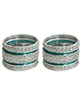 DollsofIndia Two Sets of Stone Studded White with Cyan Bangles - Metal - White