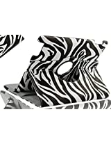 SANOXY 360 Degree Rotating Stand PU Leather Case Cover with Auto Sleep / Wake Feature for iPad 2/3/4 (ZEBRA BLACK & WHITE)