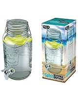 Fine Life Mason Jar Glass Beverage Dispenser with Wire Handle - 1 Gallon