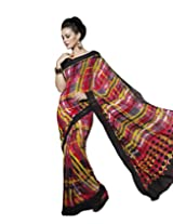Suvastram Women Georgette Printed Multi-Coloured Saree