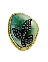 Leaf Shaped Gold Plated / Gold Finished Gemstone And AD Stone Adjustable Ring By Gehna Mart