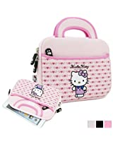 "Hello Kitty Themed Apple iPad Mini / 8"" Tablet Sleeve w/ Handles in Light Pink (Neoprene, Water Resistant, Branded YKK Zippers, Soft Plush Inner Lining)"