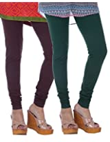 Nakhrali Women's Cotton Slim Fit Elite Churidar Leggings ( Pack of 2) (NKE-CH-CP02, Brown, Green, XX-Large)