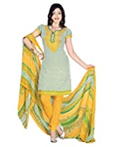 Jevi Prints Yellow & Green Art Crepe Printed Unstitched Dress Material