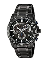 Citizen Men's AT4007-54E Perpetual Chrono A-T Black Stainless Steel Watch