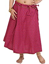 Exotic India Drawstring Printed Midi Skirt with Piping - Color Fuchsia RoseGarment Size Free Size