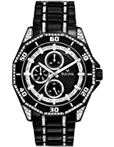Bulova Black Ion Crystal Accent Mens Watch 98C111