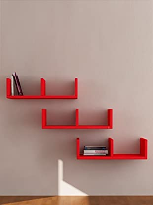 Decortie by Homemania Set 3 Estantes U (Rojo)