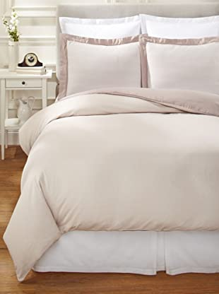 Nine Space Viscose from Bamboo/Cotton-Blend Stripes Duvet Cover Set (Ivory)