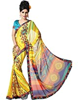 Pagli multi colour printed georgette saree with satin printed border and silk blouse.