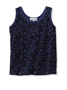 A for Apple Jam Tank with Leaves Print (Blue)
