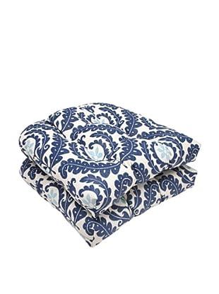Waverly Sun-n-Shade Set of 2 Meridian Pool Wicker Seat Cushions (Navy/Aqua/Cream)