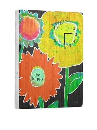 Be Happy Reclaimed Wood Clock