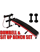 Foldable Incline Sit Up Bench Ab Workout Home Gym With Dumbell & Resistance Band (Imported)