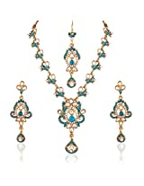 I Jewels Traditional Gold Plated Elegantly Handcrafted Kundan & Stone Jewellery Set with Maang Tikka for Women L3085Sb (Turquoise/Bluish Green)