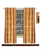 Avioni Home Fancy Rich Look Purple and golden waves Eyelet curtain polyester Material (4 feet X 7 feet) (set of 2)