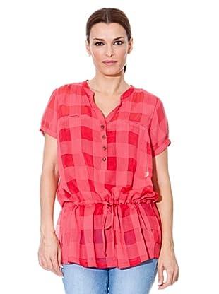 Cortefiel Blusón Cinturón (Rojo / Rosa)