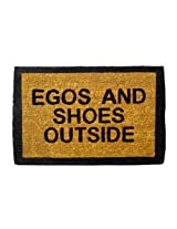 Egos and Shoes Outside Doormat