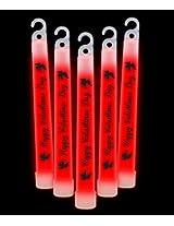 """6"""" Premium Happy Valentines Day Glow Sticks Red"""
