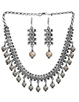 Exotic India Pearl Necklace with Matching Earrings Set - Sterling Silver