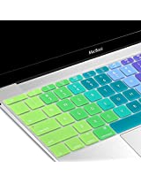 Macbook 12 inch Keyboard Cover, GMYLE Rainbow Color Silicone Keyboard Cover Skin Protector (US Layout) for The New Macbook 12 inch with Retina Display