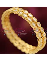 2.6 Size Oval Shape White American Diamond Stone Traditional Bangles Gold Plated Party Wear Online