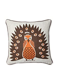 Room Service Peacock Pillow (Oatmeal/Orange)