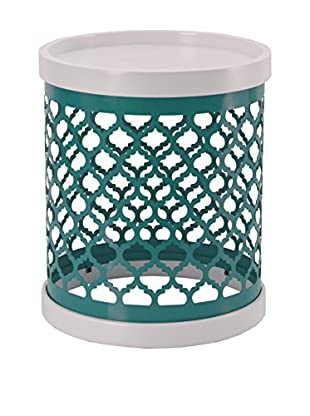 Luxury Home Quatrefoil Metal Drum, Blue