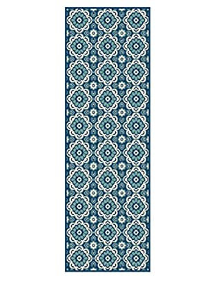 Universal Rugs Garden City Indoor/Outdoor Transitional Runner, Navy, 3' x 8'