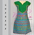 Nool Indian Blue Cotton Kurti Kurta Tops Dress Gharana VNeck Printed