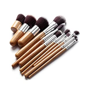11 pcs Premium Quality Bamboo Cosmetic Makeup Brush Set with Bag