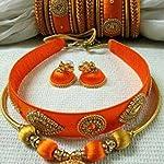 Orange n gold Fashion Jewellery Set Bangle Set of 14 2:4 Size
