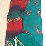 Green Raw Silk Dress Material With Dupatta