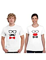 Giftsmate Happy Hours Mr. Mrs. Couple T-shirt, White (Large)