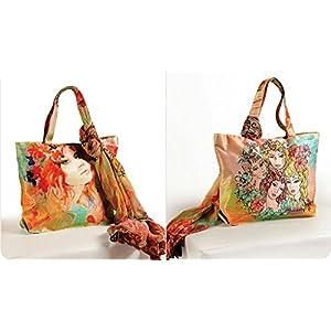 Shopping World Faux Silk With Shiffon Stole Hand Bag - 4Headgirls