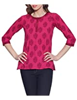 Cotton Printed Kurti Indian Casual Dresses For Women ,W-CPK46-1820,Size-46 Inch,MAGENTA