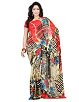 Admyrin Beige Printed Saree with Salmon Blouse Piece