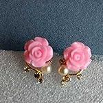 Lovely Pink Rose crystal pearl Stud Earrings