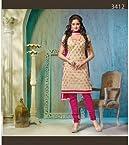 Chanderi Cotton Printed Pink Semi Stitched Churidar Suit - 106-3412