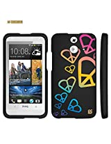 Spots8 for HTC One E8 Glossy Image Graphic Designs 2 Piece Snap On Images Cellphone Cell Phone Hard Protective Case Cover - Rainbow Heart Peaces Sign Design