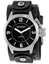 Nemesis Men's B032K Signature Stainless Steel Round Black Dial Leather Cuff Watch