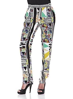 Peace & Love Pantalón Geométrico Elástico (Negro)