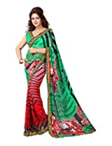 Adityadarshan Creation Green Faux Georgette Lace Saree