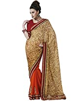 Indian Women Alluring Satin Chiffon Multi-Coloured Saree with Blouse