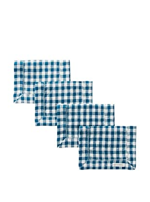 Sferra Set of 4 Piccadilly Cocktail Napkins (Peacock)