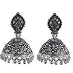 Silver Metal Oxidised Silver Pearl Fashion large Jhumki party wear Earring