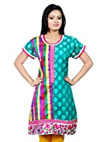 B3Fashion Green Patola Weave & Multi Coloured Check Print Supernet Kurti with coordinating Embroidery (B339)