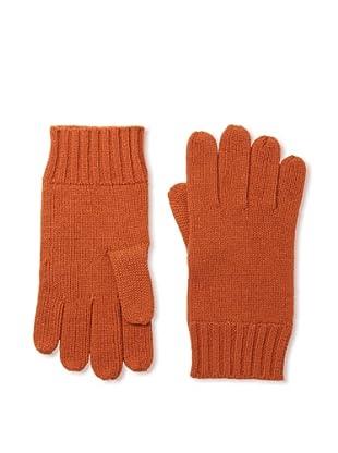Cashmere Addiction Men's Solid Cashmere Gloves, Dark Orange