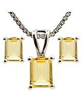 Be You 92.5% Sterling Silver Natural Citrine Gemstones Pendant Set