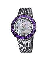 Burgi Mother Of Pearl Dial Silver-Tone Brass Mesh Ladies Watch - Bi076Bu